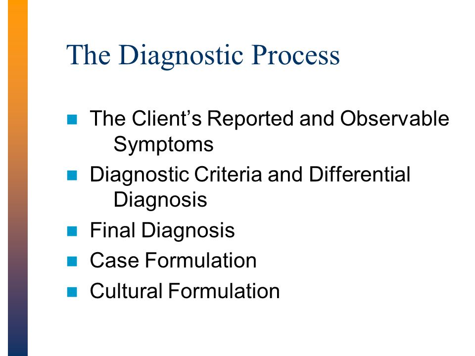 The Diagnostic Process The Client's Reported and Observable Symptoms Diagnostic Criteria and Differential Diagnosis Final Diagnosis Case Formulation Cultural Formulation
