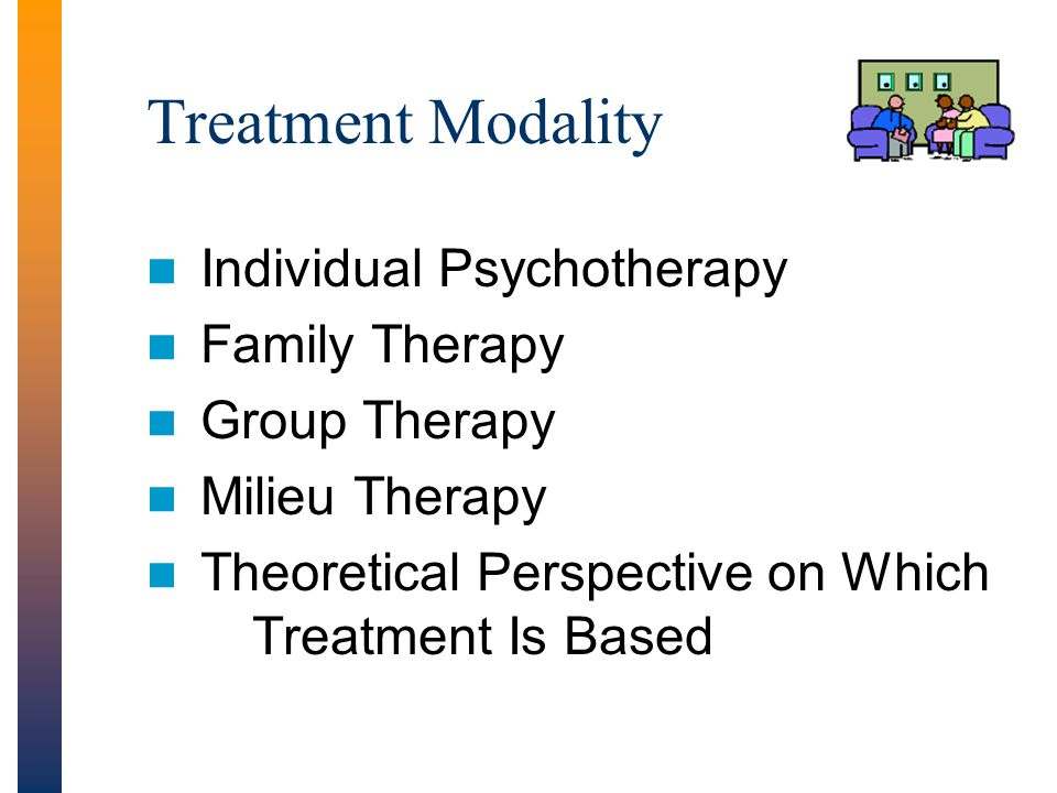 Treatment Modality Individual Psychotherapy Family Therapy Group Therapy Milieu Therapy Theoretical Perspective on Which Treatment Is Based