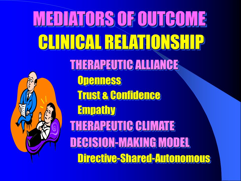 MEDIATORS OF OUTCOME CLINICAL RELATIONSHIP THERAPEUTIC ALLIANCE Openness Openness Trust & Confidence Trust & Confidence Empathy Empathy THERAPEUTIC CLIMATE DECISION-MAKING MODEL Directive-Shared-Autonomous Directive-Shared-Autonomous THERAPEUTIC ALLIANCE Openness Openness Trust & Confidence Trust & Confidence Empathy Empathy THERAPEUTIC CLIMATE DECISION-MAKING MODEL Directive-Shared-Autonomous Directive-Shared-Autonomous