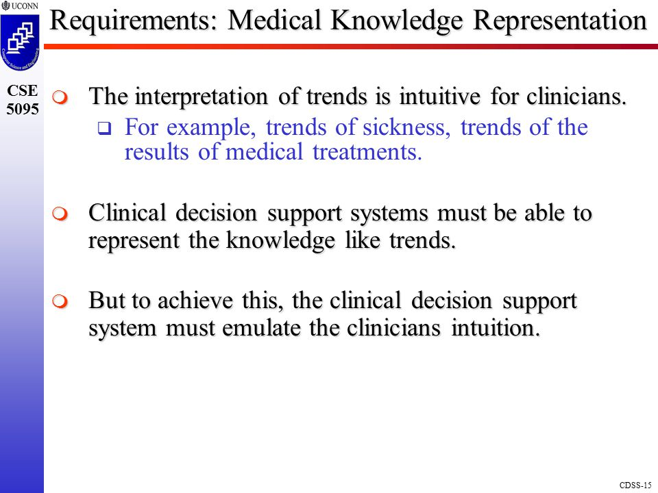 CDSS-15 CSE 5095 Requirements: Medical Knowledge Representation  The interpretation of trends is intuitive for clinicians.