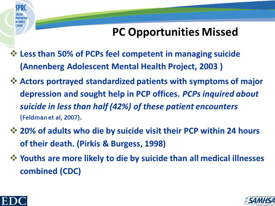  Less than 50% of PCPs feel competent in managing suicide (Annenberg Adolescent Mental Health Project, 2003 )  Actors portrayed standardized patients with symptoms of major depression and sought help in PCP offices.