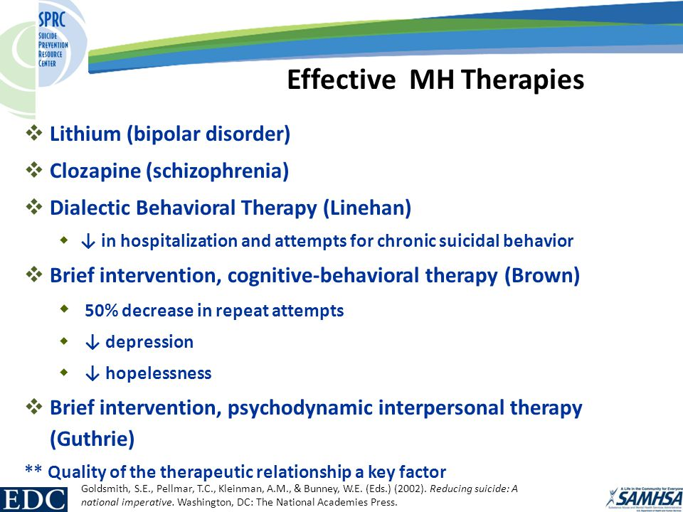  Lithium (bipolar disorder)  Clozapine (schizophrenia)  Dialectic Behavioral Therapy (Linehan)  ↓ in hospitalization and attempts for chronic suicidal behavior  Brief intervention, cognitive-behavioral therapy (Brown)  50% decrease in repeat attempts  ↓ depression  ↓ hopelessness  Brief intervention, psychodynamic interpersonal therapy (Guthrie) ** Quality of the therapeutic relationship a key factor Effective MH Therapies Goldsmith, S.E., Pellmar, T.C., Kleinman, A.M., & Bunney, W.E.