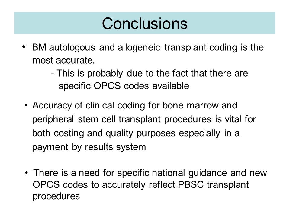 Conclusions - 4 Conclusions BM autologous and allogeneic transplant coding is the most accurate.