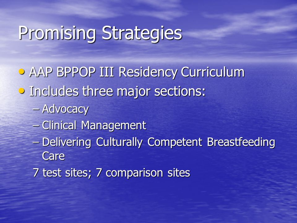 Promising Strategies AAP BPPOP III Residency Curriculum AAP BPPOP III Residency Curriculum Includes three major sections: Includes three major section