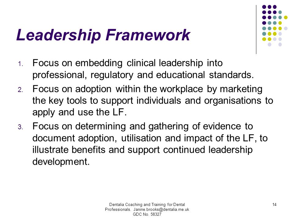 Leadership Framework 1. Focus on embedding clinical leadership into professional, regulatory and educational standards. 2. Focus on adoption within th