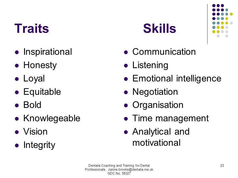 Traits Skills Inspirational Honesty Loyal Equitable Bold Knowlegeable Vision Integrity Communication Listening Emotional intelligence Negotiation Orga