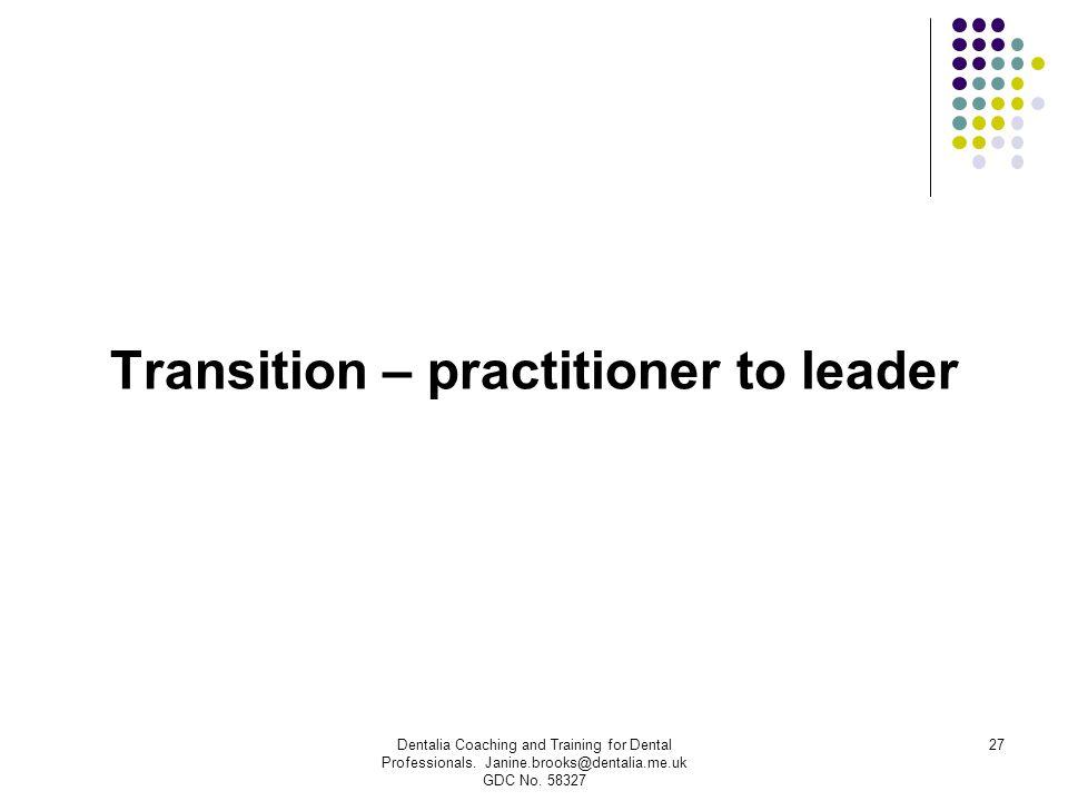 Transition – practitioner to leader Dentalia Coaching and Training for Dental Professionals. Janine.brooks@dentalia.me.uk GDC No. 58327 27