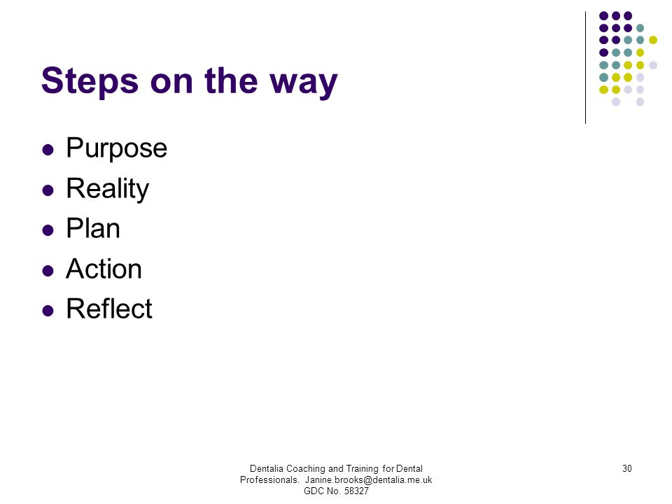 Steps on the way Purpose Reality Plan Action Reflect Dentalia Coaching and Training for Dental Professionals. Janine.brooks@dentalia.me.uk GDC No. 583