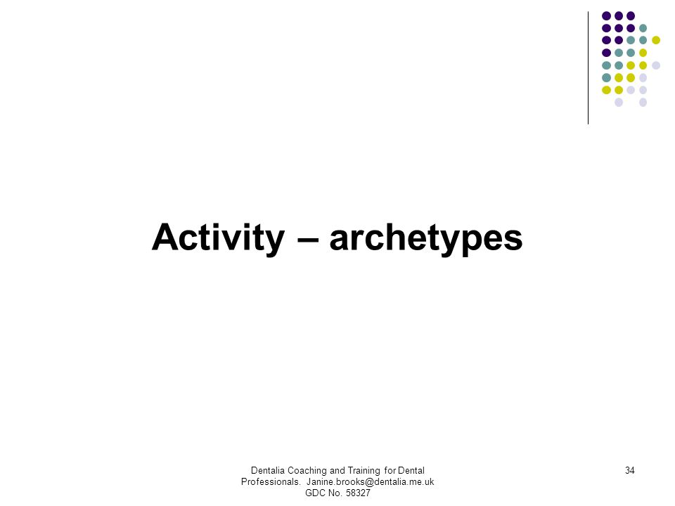 Activity – archetypes Dentalia Coaching and Training for Dental Professionals. Janine.brooks@dentalia.me.uk GDC No. 58327 34