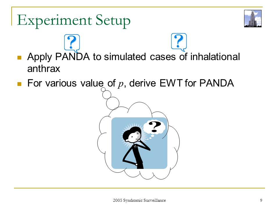 2005 Syndromic Surveillance 9 Experiment Setup Apply PANDA to simulated cases of inhalational anthrax For various value of p, derive EWT for PANDA