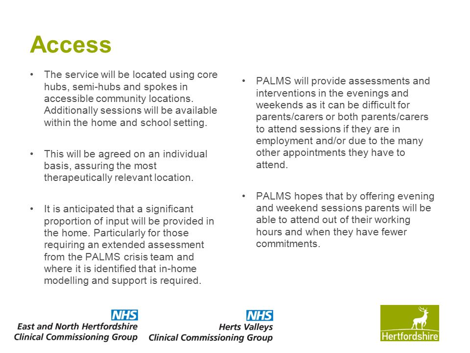 Access The service will be located using core hubs, semi-hubs and spokes in accessible community locations. Additionally sessions will be available wi