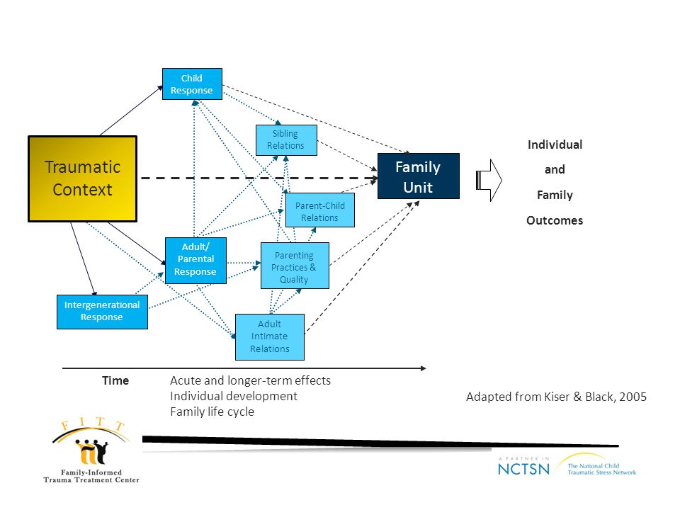 Family Unit Time Acute and longer-term effects Individual development Family life cycle Child Response Adult/ Parental Response Intergenerational Resp