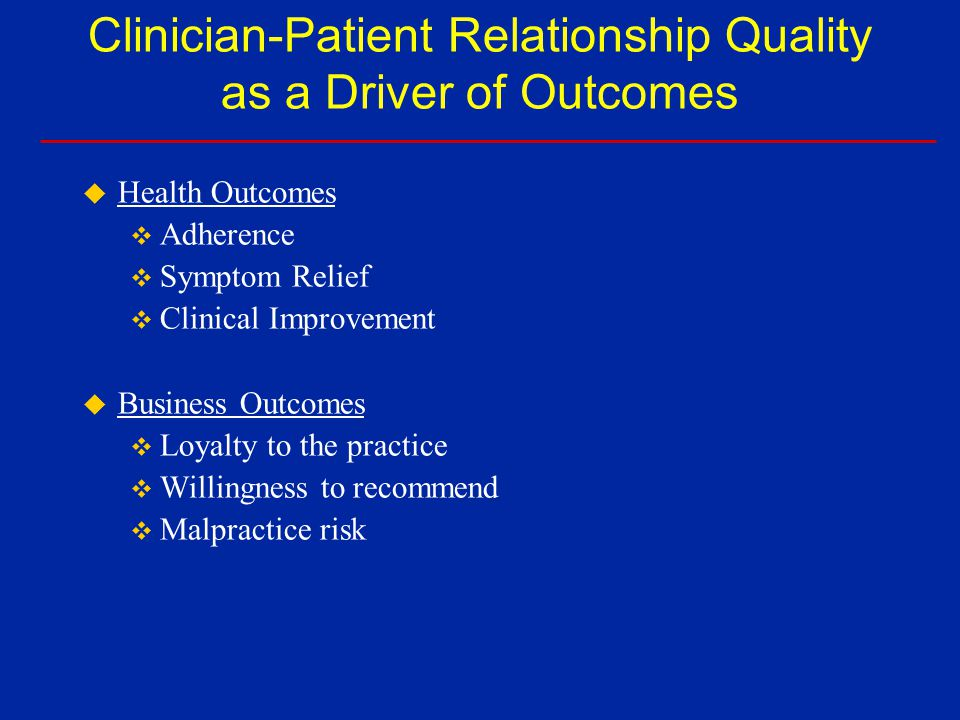 Relationship Quality Index from the Primary Care Assessment Survey (PCAS) Communication Whole-Person Orientation Interpersonal treatment Trust Relationship Quality
