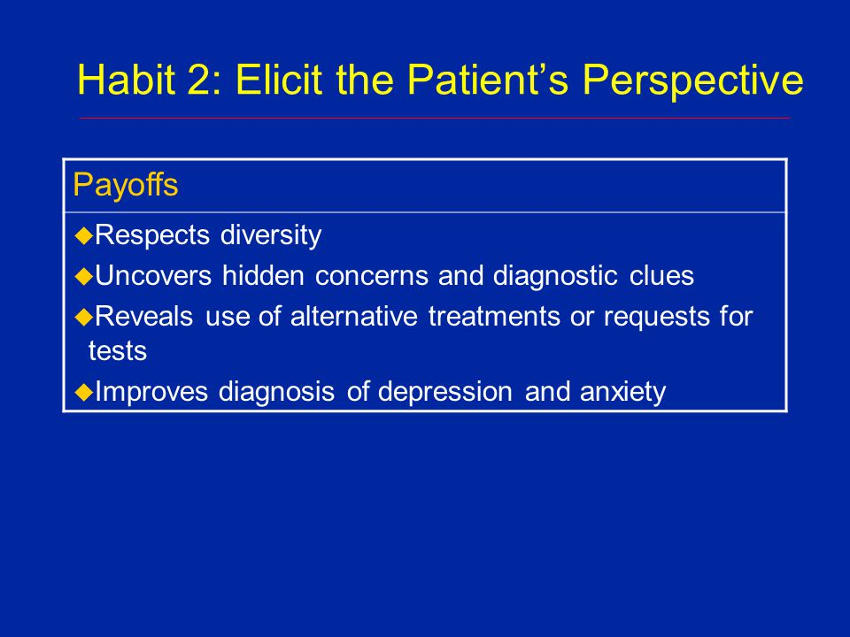 Habit 2: Elicit the Patient's Perspective u Condition: qaug dab peg u English translation:The Spirit Catches You and You Fall down u Medical translation: Epilepsy u Condition: qaug dab peg u English translation:The Spirit Catches You and You Fall down u Medical translation: Epilepsy