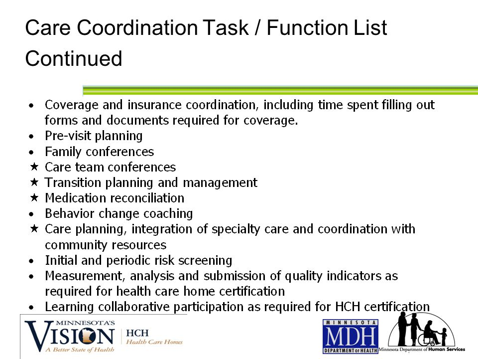 Care Coordination Task / Function List Continued