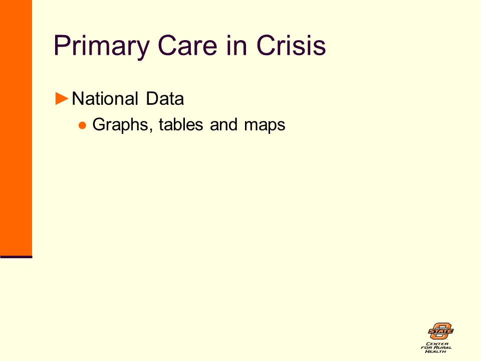 Primary Care in Crisis ►National Data ●Graphs, tables and maps