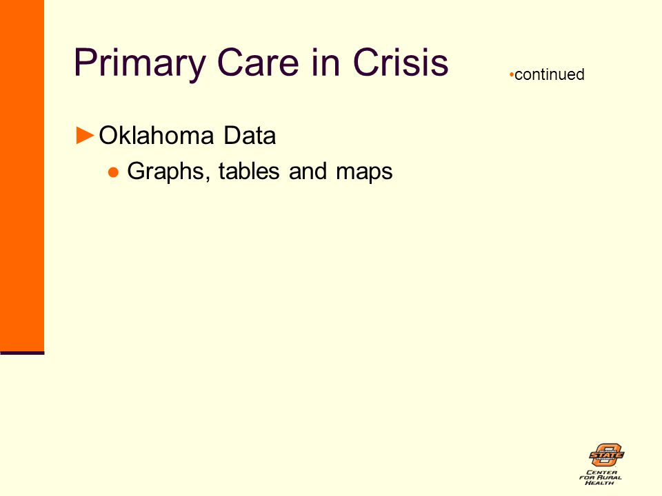 Primary Care in Crisis ►Oklahoma Data ●Graphs, tables and maps continued