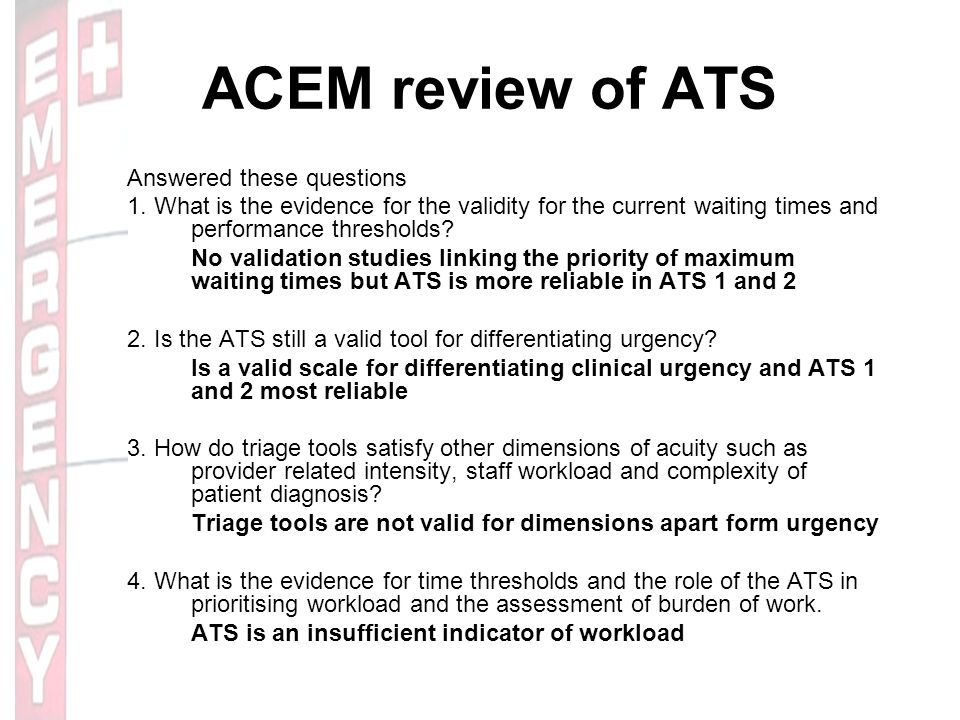 ACEM review of ATS Answered these questions 1.