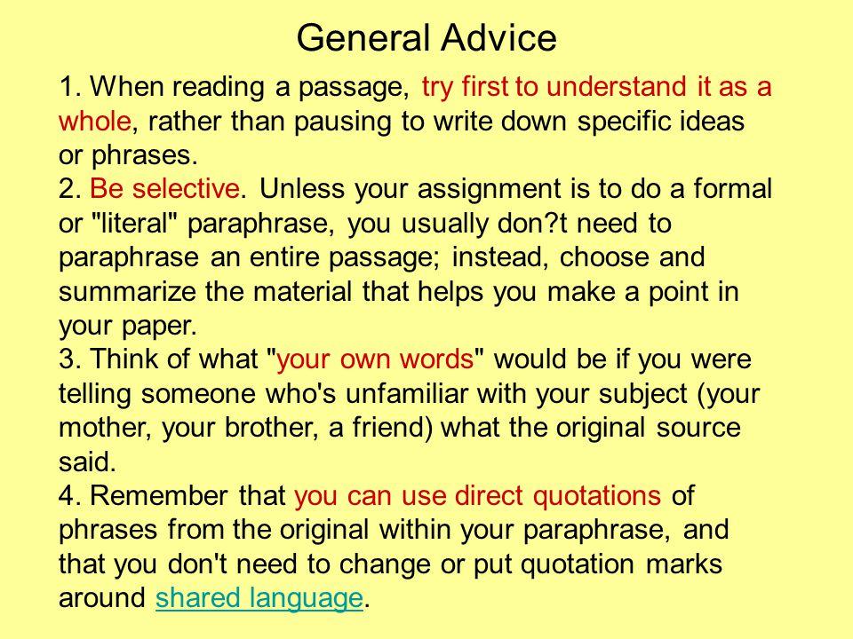 General Advice 1.