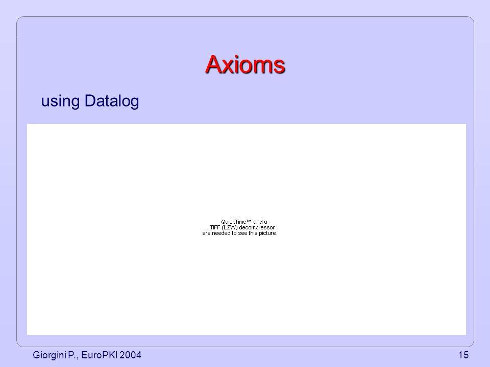 Giorgini P., EuroPKI 200415 Axioms using Datalog
