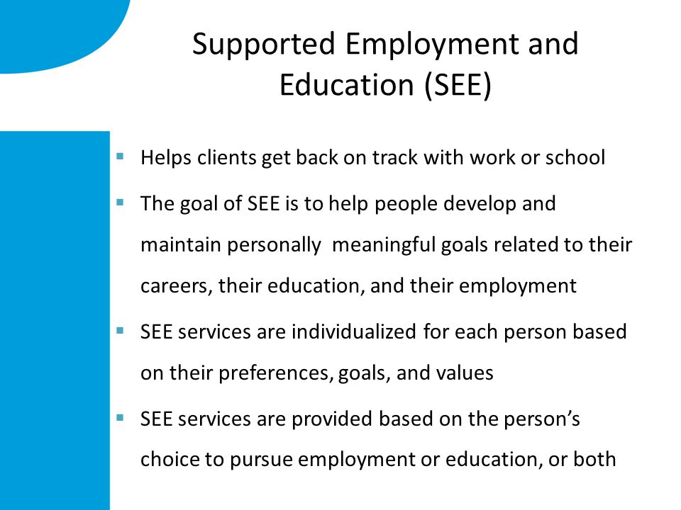 Supported Employment and Education (SEE)  Helps clients get back on track with work or school  The goal of SEE is to help people develop and maintain personally meaningful goals related to their careers, their education, and their employment  SEE services are individualized for each person based on their preferences, goals, and values  SEE services are provided based on the person's choice to pursue employment or education, or both