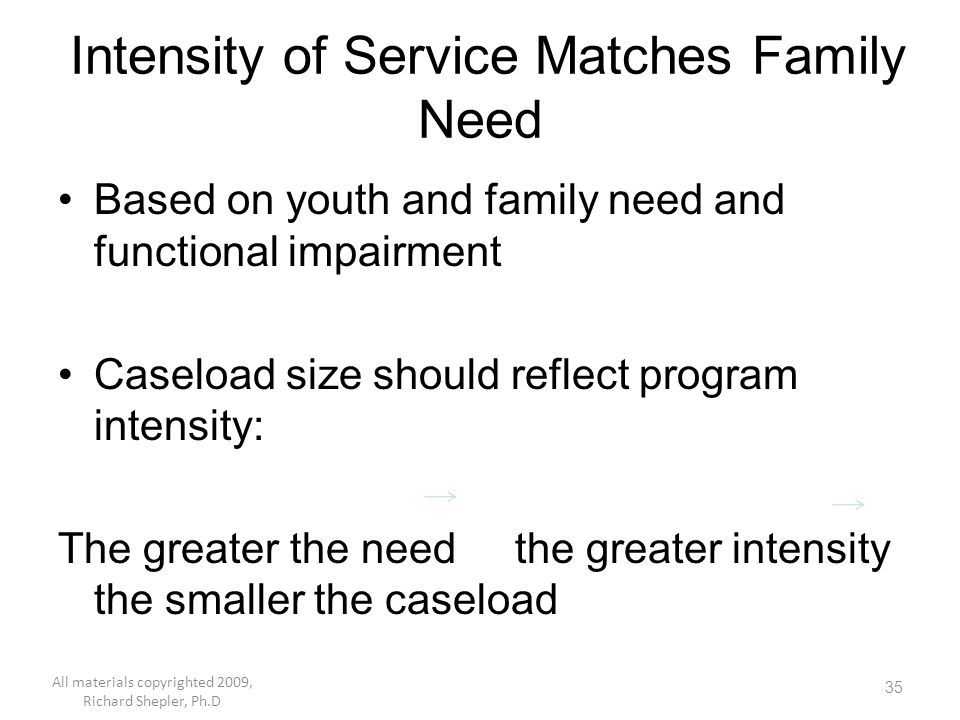 35 Intensity of Service Matches Family Need Based on youth and family need and functional impairment Caseload size should reflect program intensity: T