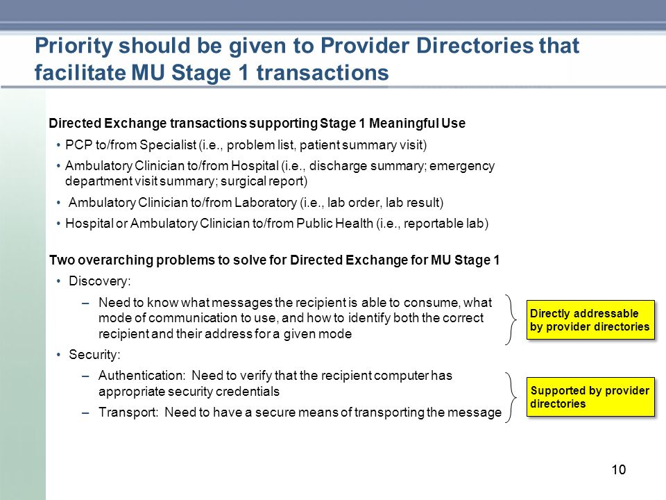10 Priority should be given to Provider Directories that facilitate MU Stage 1 transactions Directed Exchange transactions supporting Stage 1 Meaningful Use PCP to/from Specialist (i.e., problem list, patient summary visit) Ambulatory Clinician to/from Hospital (i.e., discharge summary; emergency department visit summary; surgical report) Ambulatory Clinician to/from Laboratory (i.e., lab order, lab result) Hospital or Ambulatory Clinician to/from Public Health (i.e., reportable lab) Two overarching problems to solve for Directed Exchange for MU Stage 1 Discovery: –Need to know what messages the recipient is able to consume, what mode of communication to use, and how to identify both the correct recipient and their address for a given mode Security: –Authentication: Need to verify that the recipient computer has appropriate security credentials –Transport: Need to have a secure means of transporting the message 10 Directly addressable by provider directories Supported by provider directories