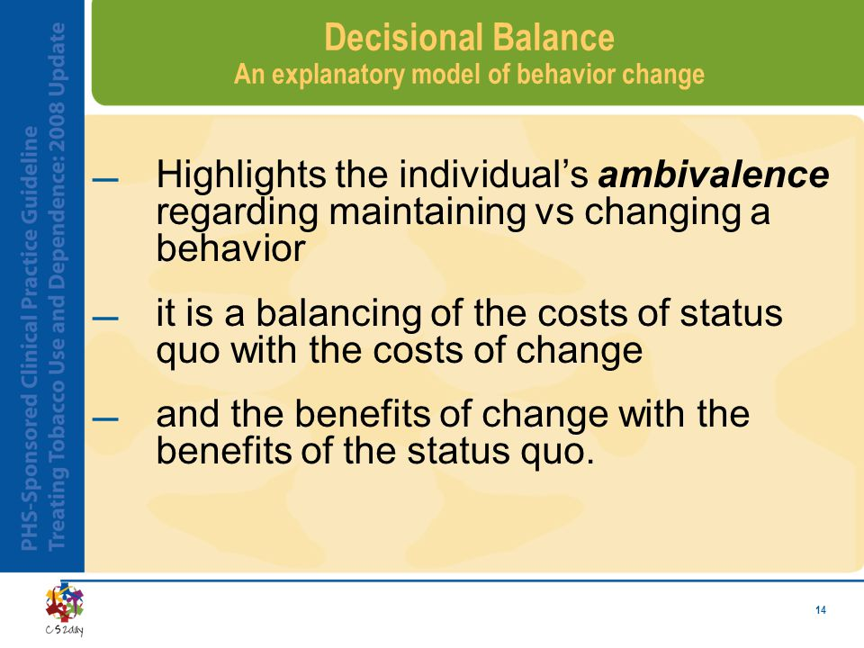 14 Decisional Balance An explanatory model of behavior change Highlights the individual's ambivalence regarding maintaining vs changing a behavior i