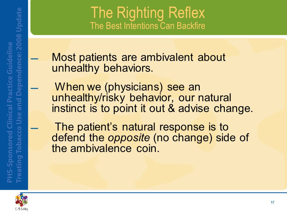 17 The Righting Reflex The Best Intentions Can Backfire Most patients are ambivalent about unhealthy behaviors.
