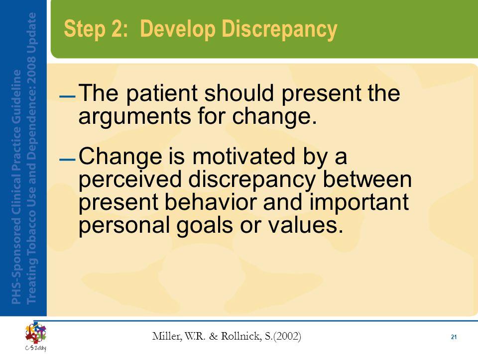 21 Step 2: Develop Discrepancy The patient should present the arguments for change.