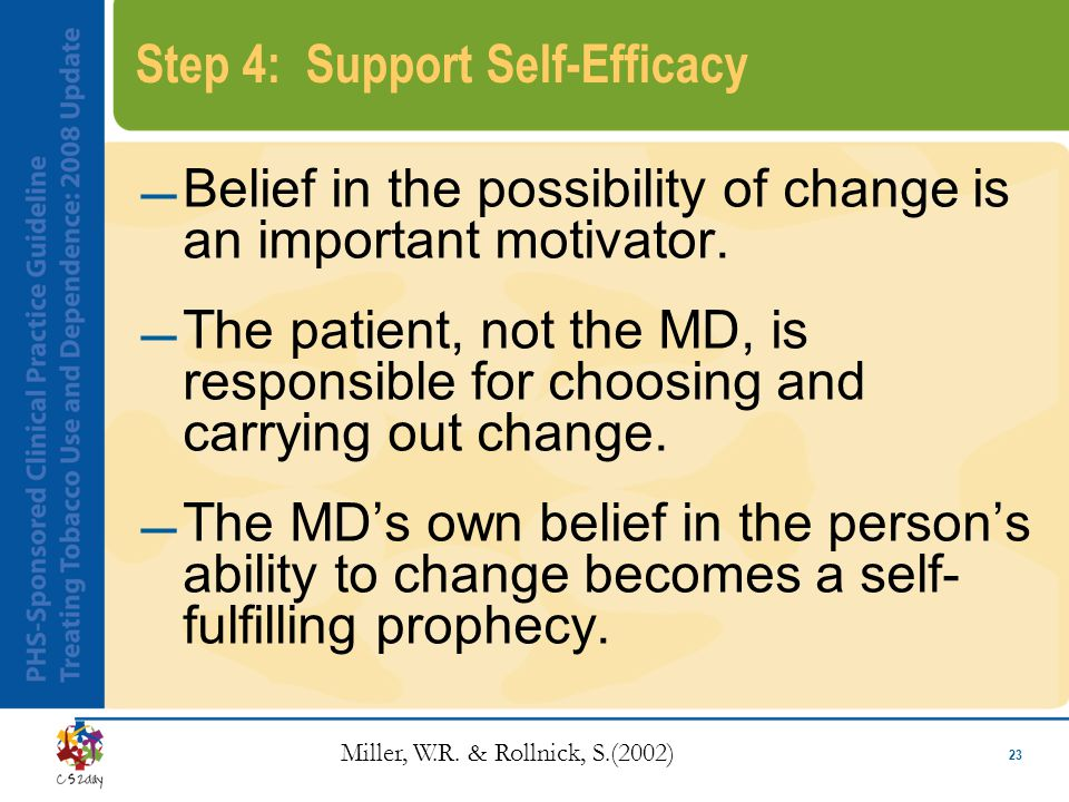 23 Step 4: Support Self-Efficacy Belief in the possibility of change is an important motivator.