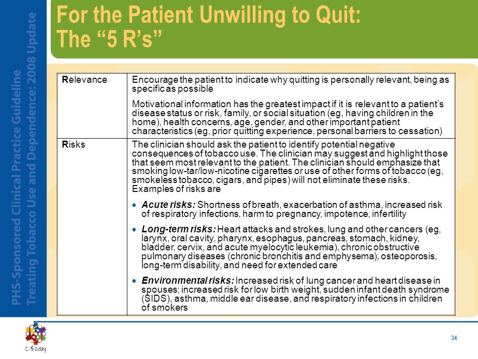 34 For the Patient Unwilling to Quit: The 5 R's RelevanceEncourage the patient to indicate why quitting is personally relevant, being as specific as possible Motivational information has the greatest impact if it is relevant to a patient's disease status or risk, family, or social situation (eg, having children in the home), health concerns, age, gender, and other important patient characteristics (eg, prior quitting experience, personal barriers to cessation) RisksThe clinician should ask the patient to identify potential negative consequences of tobacco use.