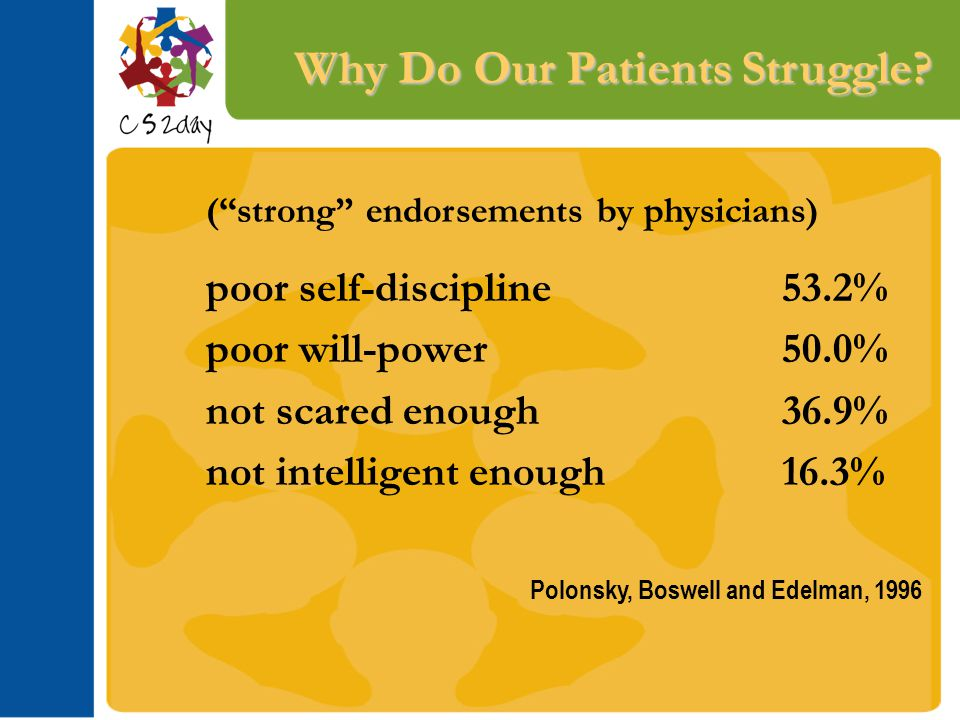 "Why Do Our Patients Struggle? (""strong"" endorsements by physicians) poor self-discipline53.2% poor will-power50.0% not scared enough36.9% not intellig"