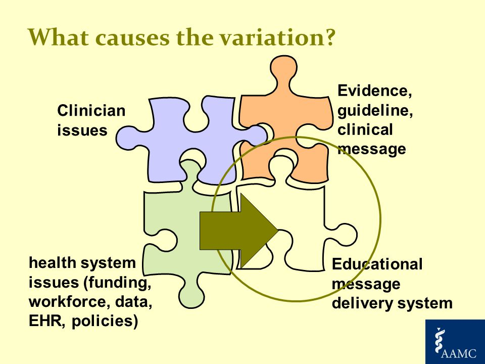 What causes the variation? health system issues (funding, workforce, data, EHR, policies) Clinician issues Evidence, guideline, clinical message Educa