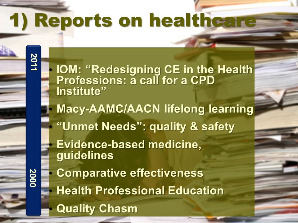 IOM: Redesigning CE in the Health Professions: a call for a CPD Institute IOM: Redesigning CE in the Health Professions: a call for a CPD Institute Macy-AAMC/AACN lifelong learning Macy-AAMC/AACN lifelong learning Unmet Needs : quality & safety Unmet Needs : quality & safety Evidence-based medicine, guidelines Evidence-based medicine, guidelines Comparative effectiveness Comparative effectiveness Health Professional Education Health Professional Education Quality Chasm Quality Chasm 2000 2011 1) Reports on healthcare
