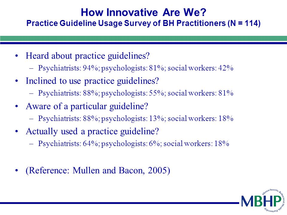 How Innovative Are We? Practice Guideline Usage Survey of BH Practitioners (N = 114) Heard about practice guidelines? –Psychiatrists: 94%; psychologis