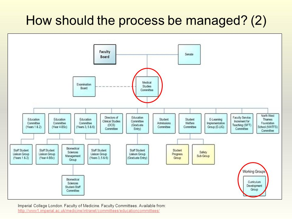How should the process be managed? (2) Imperial College London. Faculty of Medicine. Faculty Committees. Available from: http://www1.imperial.ac.uk/me