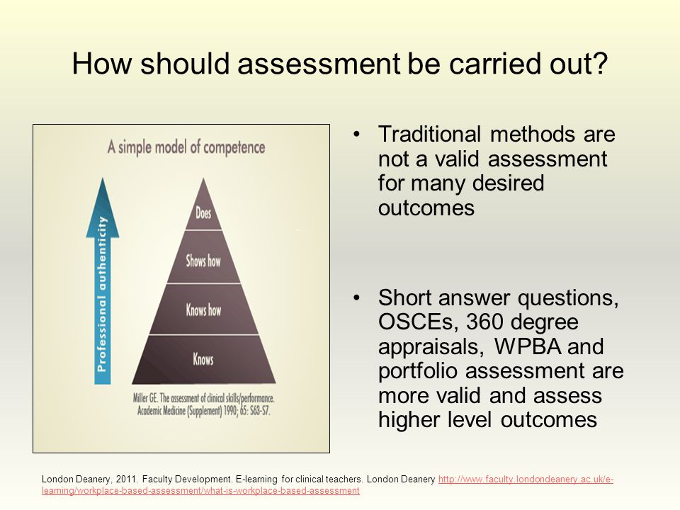 How should assessment be carried out? Traditional methods are not a valid assessment for many desired outcomes Short answer questions, OSCEs, 360 degr