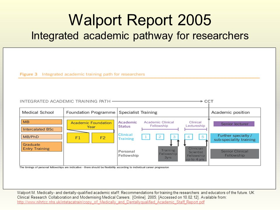 Walport M. Medically- and dentally-qualified academic staff: Recommendations for training the researchers and educators of the future. UK Clinical Res