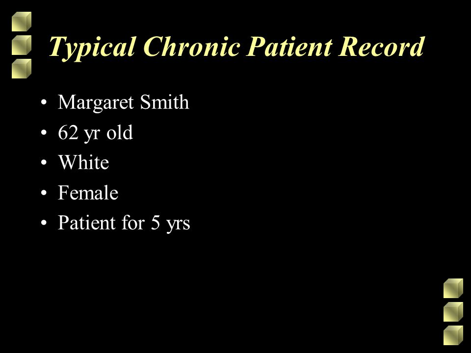 Typical Chronic Patient Record Margaret Smith 62 yr old White Female Patient for 5 yrs