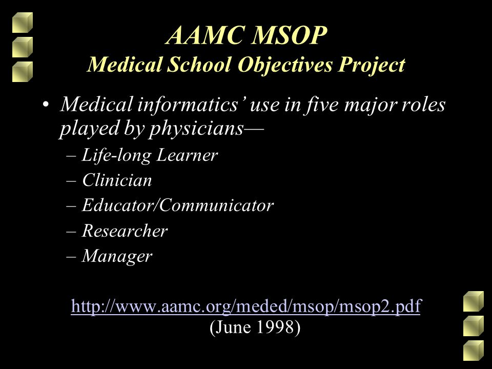 AAMC MSOP Medical School Objectives Project Medical informatics' use in five major roles played by physicians— –Life-long Learner –Clinician –Educator/Communicator –Researcher –Manager http://www.aamc.org/meded/msop/msop2.pdf http://www.aamc.org/meded/msop/msop2.pdf (June 1998)