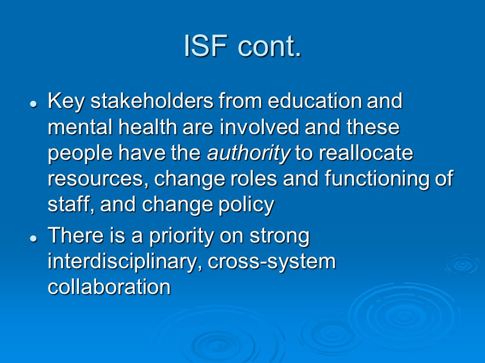 ISF cont.