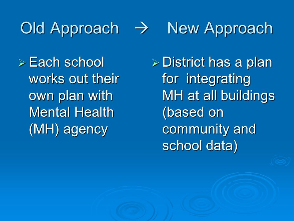 Old Approach  New Approach  Each school works out their own plan with Mental Health (MH) agency  District has a plan for integrating MH at all buildings (based on community and school data)