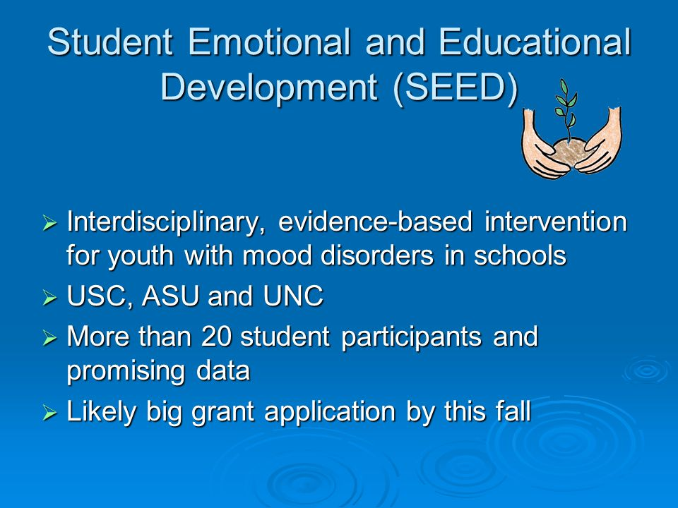  Interdisciplinary, evidence-based intervention for youth with mood disorders in schools  USC, ASU and UNC  More than 20 student participants and promising data  Likely big grant application by this fall Student Emotional and Educational Development (SEED)