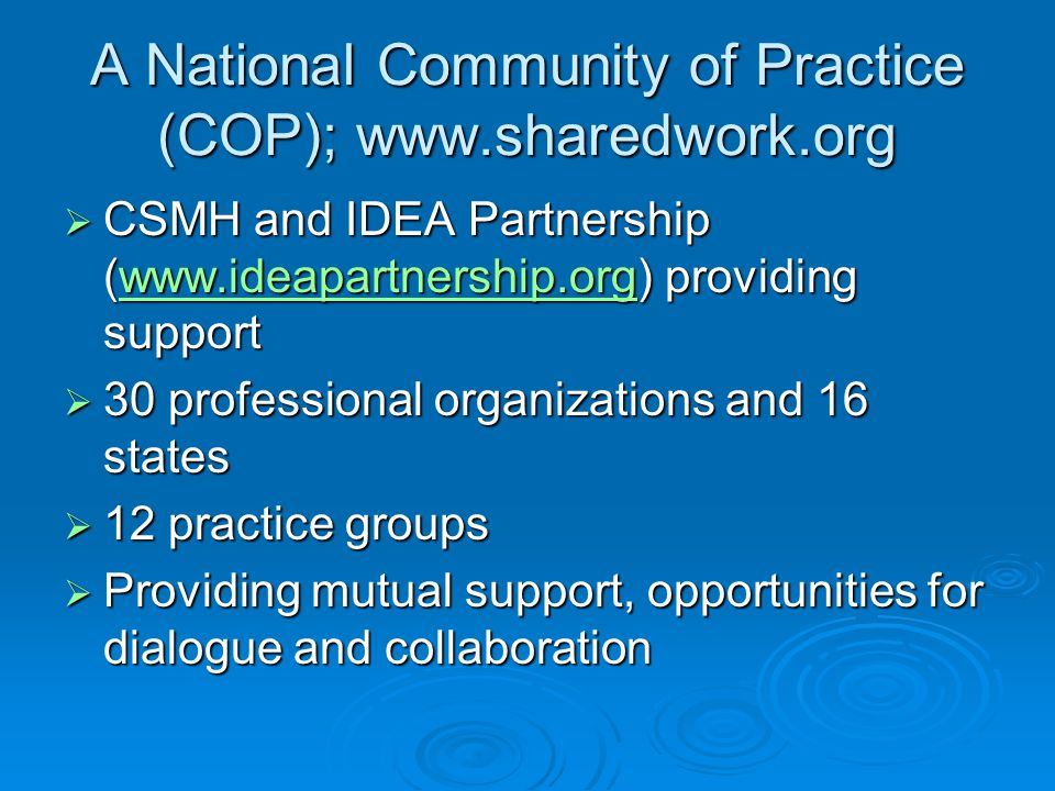 A National Community of Practice (COP); www.sharedwork.org  CSMH and IDEA Partnership (www.ideapartnership.org) providing support www.ideapartnership.org  30 professional organizations and 16 states  12 practice groups  Providing mutual support, opportunities for dialogue and collaboration