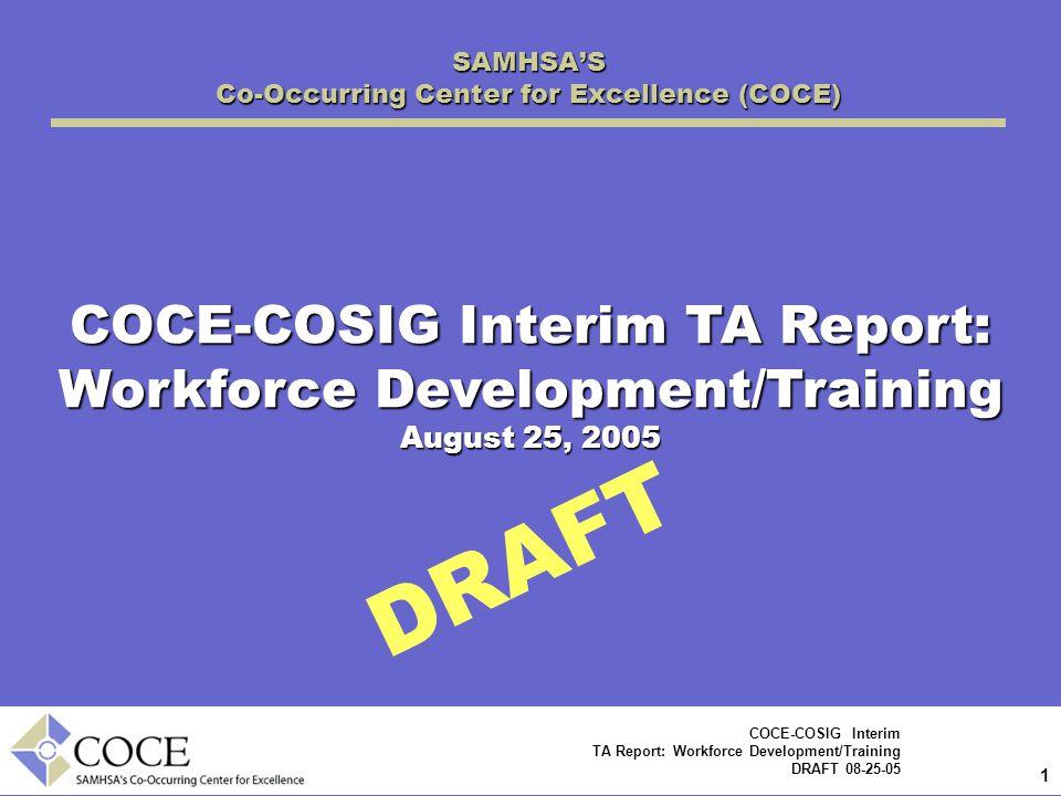 1 1 COCE-COSIG Interim TA Report: Workforce Development/Training DRAFT 08-25-05 DRAFT SAMHSA'S Co-Occurring Center for Excellence (COCE) COCE-COSIG Interim TA Report: Workforce Development/Training August 25, 2005