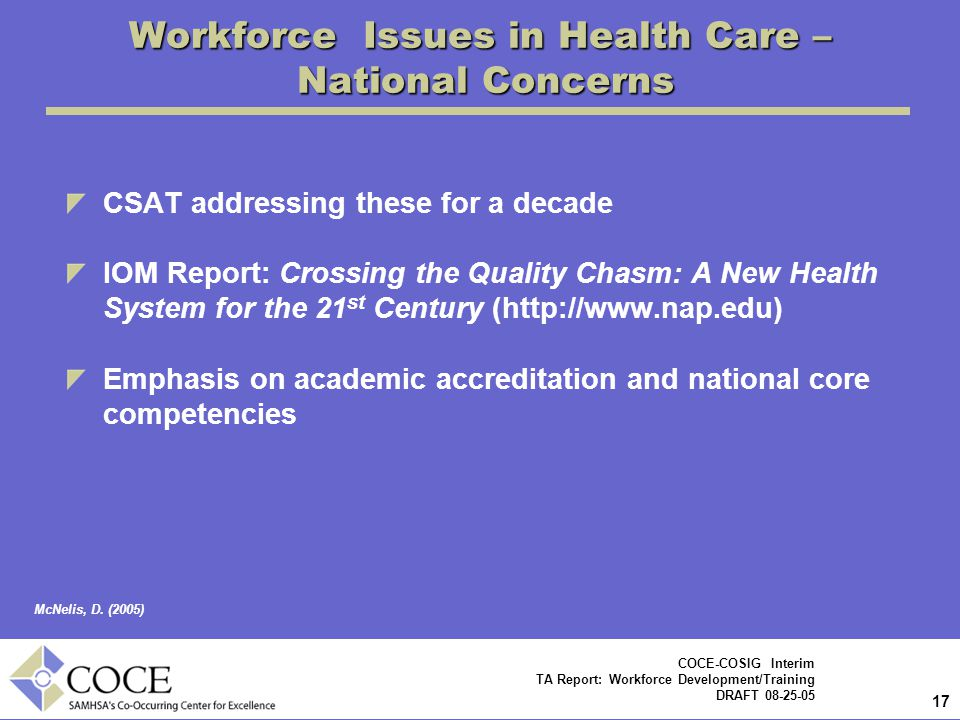 17 COCE-COSIG Interim TA Report: Workforce Development/Training DRAFT 08-25-05 CSAT addressing these for a decade IOM Report: Crossing the Quality Chasm: A New Health System for the 21 st Century (http://www.nap.edu) Emphasis on academic accreditation and national core competencies Workforce Issues in Health Care – National Concerns McNelis, D.