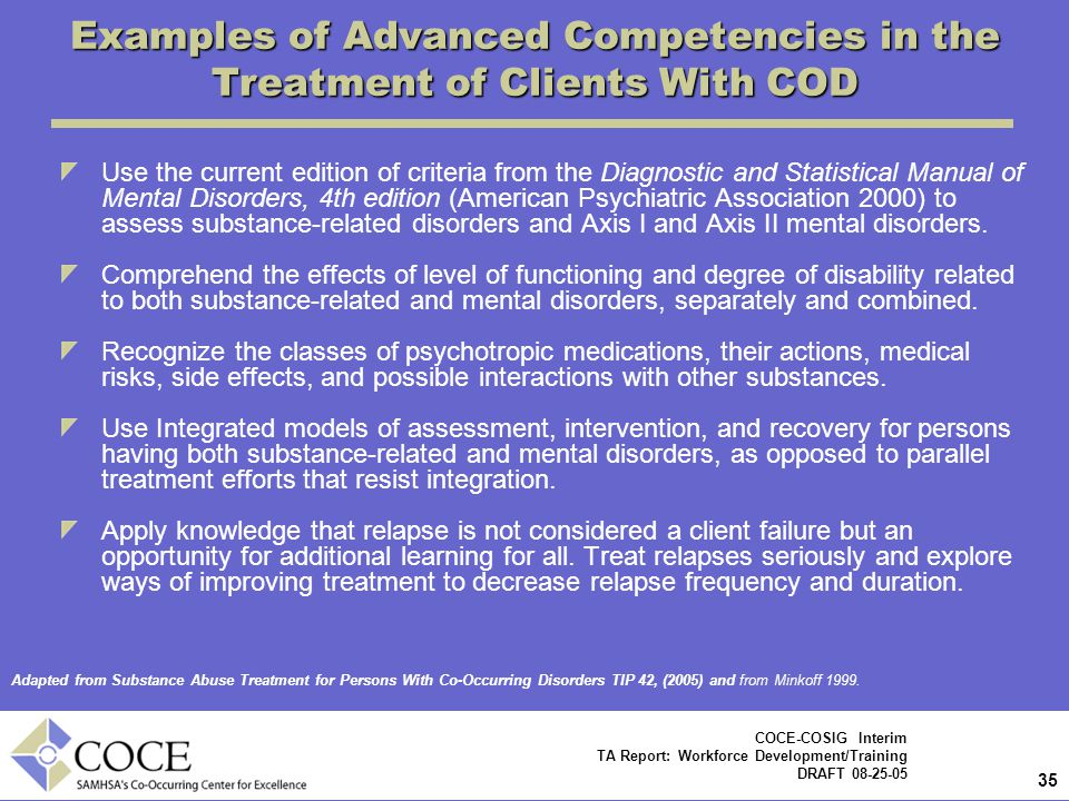 35 COCE-COSIG Interim TA Report: Workforce Development/Training DRAFT 08-25-05 Examples of Advanced Competencies in the Treatment of Clients With COD Use the current edition of criteria from the Diagnostic and Statistical Manual of Mental Disorders, 4th edition (American Psychiatric Association 2000) to assess substance-related disorders and Axis I and Axis II mental disorders.
