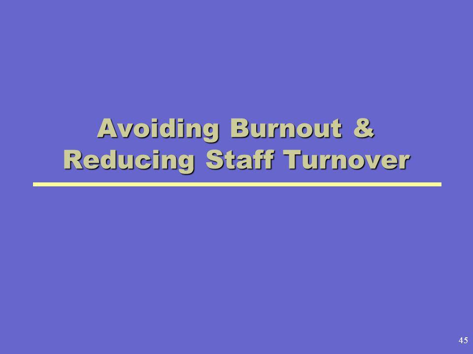 45 Avoiding Burnout & Reducing Staff Turnover
