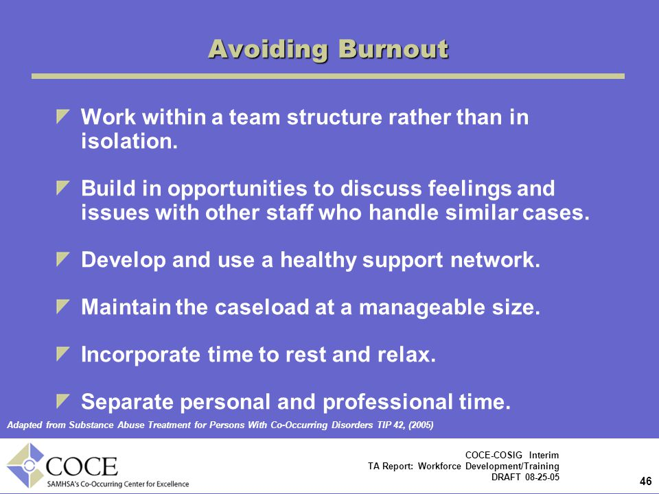 46 COCE-COSIG Interim TA Report: Workforce Development/Training DRAFT 08-25-05 Avoiding Burnout Work within a team structure rather than in isolation.